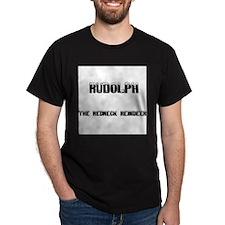Rudolph The Redneck Reindeer Black T-Shirt