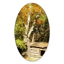 Fall Colors Log Cabin Oval Decal