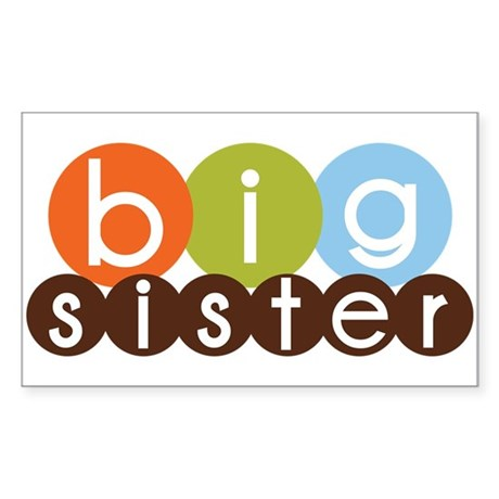 mod circles big sister shirts Rectangle Sticker