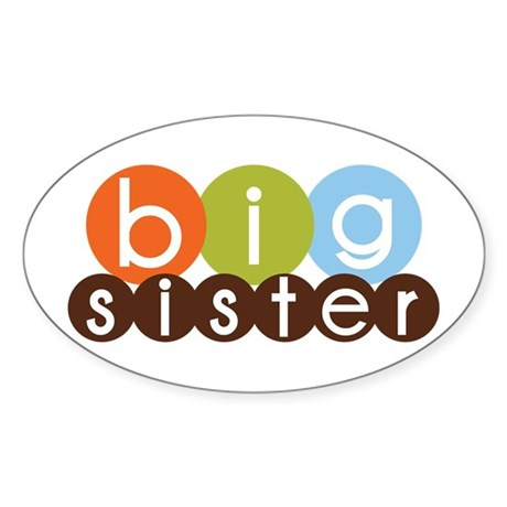 mod circles big sister shirts Oval Sticker