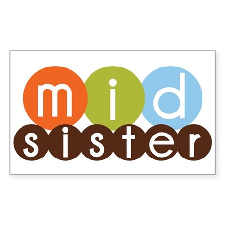 mod circles middle sister shirts Sticker (Rectangl
