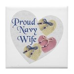 Proud Navy Wife Tile Coaster