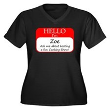 Zoe Women's Plus Size V-Neck Dark T-Shirt