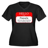 Pamela Women's Plus Size V-Neck Dark T-Shirt