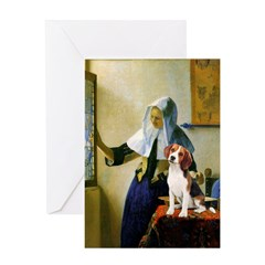 Woman w/Pitcher - Beagle Greeting Card
