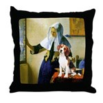 Woman w/Pitcher - Beagle Throw Pillow