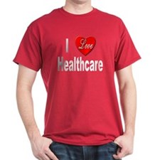 I Love Healthcare (Front) Black T-Shirt