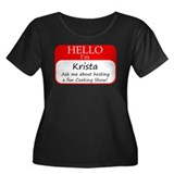 Krista Women's Plus Size Scoop Neck Dark T-Shirt