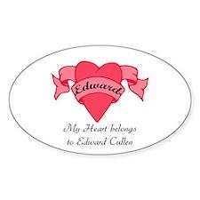 My Heart belongs to Edward Oval Decal