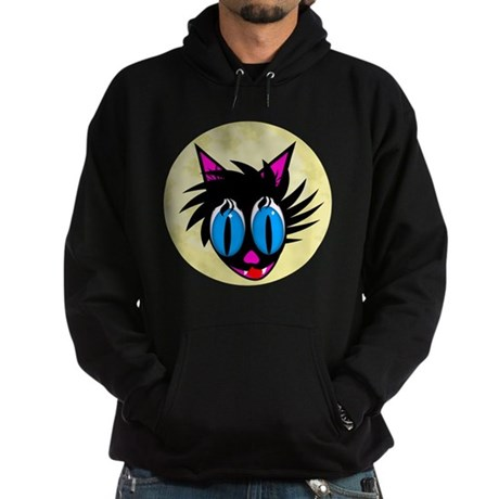Cute Black Cat Moon Hoodie (dark)