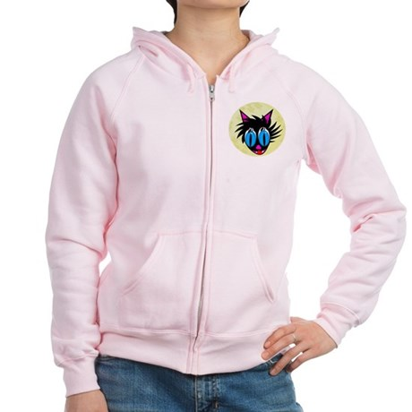 Cute Black Cat Moon Women's Zip Hoodie