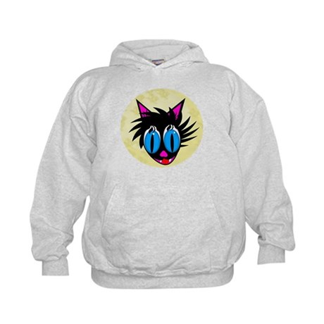 Cute Black Cat Moon Kids Hoodie