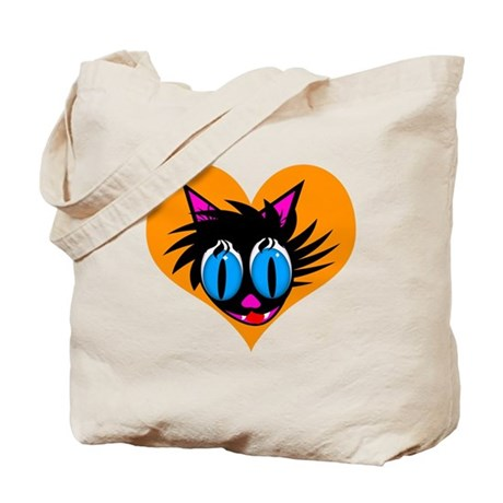 Cute Black Cat Heart Tote Bag