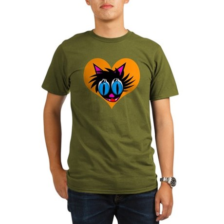 Cute Black Cat Heart Organic Men's T-Shirt (dark)