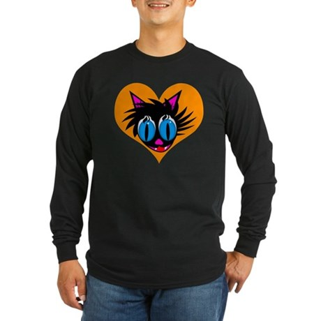 Cute Black Cat Heart Long Sleeve Dark T-Shirt