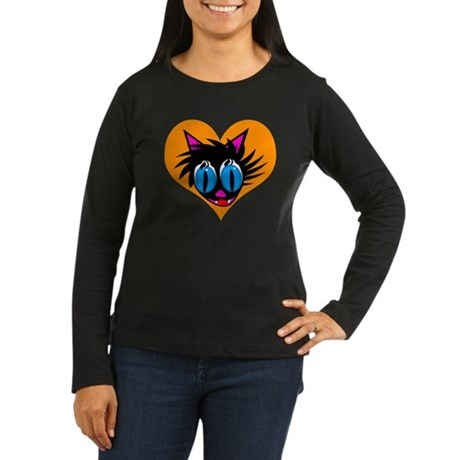 Cute Black Cat Heart Women's Long Sleeve Dark T-Sh