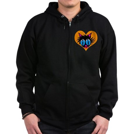 Cute Black Cat Heart Zip Hoodie (dark)