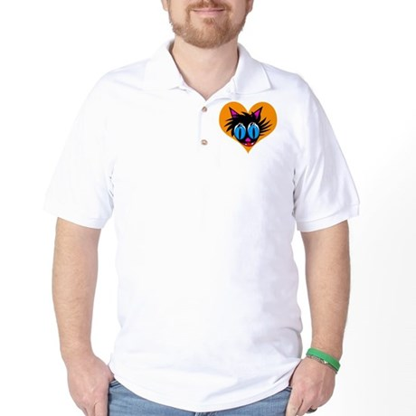 Cute Black Cat Heart Golf Shirt