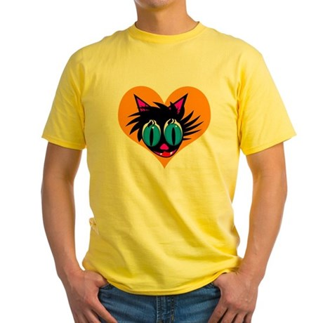 Cute Black Cat Heart Yellow T-Shirt