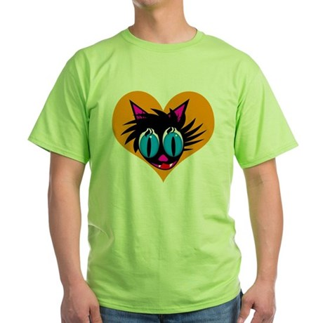 Cute Black Cat Heart Green T-Shirt