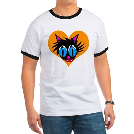 Cute Black Cat Heart Ringer T