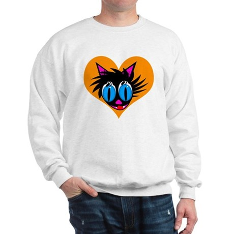 Cute Black Cat Heart Sweatshirt