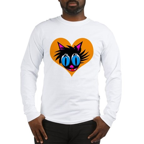 Cute Black Cat Heart Long Sleeve T-Shirt