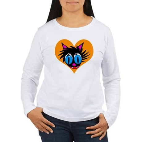 Cute Black Cat Heart Women's Long Sleeve T-Shirt