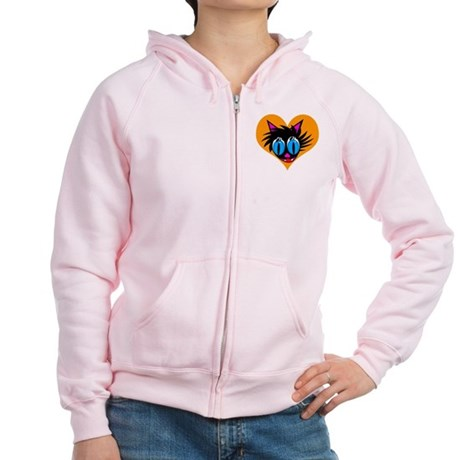 Cute Black Cat Heart Women's Zip Hoodie
