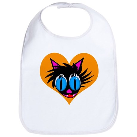 Cute Black Cat Heart Bib