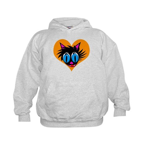 Cute Black Cat Heart Kids Hoodie