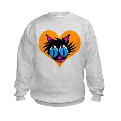 Cute Black Cat Heart Kids Sweatshirt
