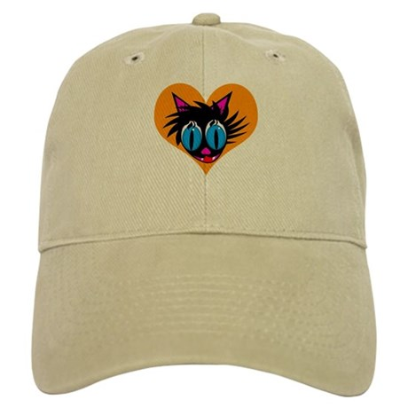 Cute Black Cat Heart Cap