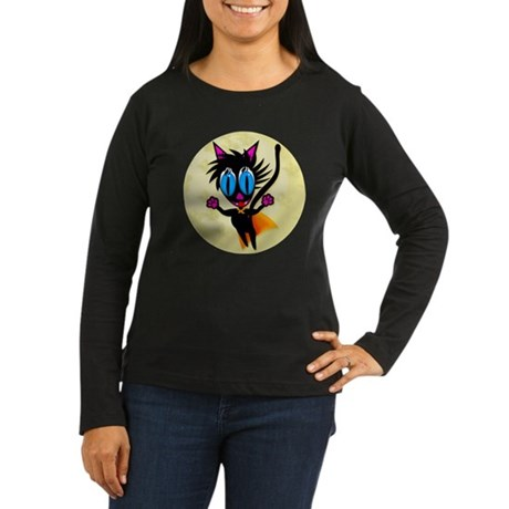Black Cat...Away! Women's Long Sleeve Dark T-Shirt