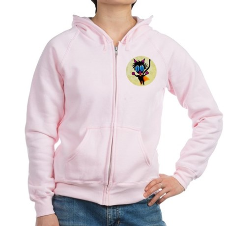 Black Cat...Away! Women's Zip Hoodie