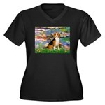 Lilies (#2) - Beagle #7 Women's Plus Size V-Neck D