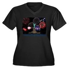 Liberty Fireworks Women's Plus Size V-Neck Dark T-