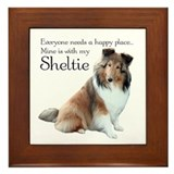 Happy Place Sheltie Framed Tile