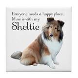 Happy Place Sheltie Tile Coaster