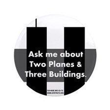 "Two Planes Three Buildings 3.5"" Button (100 pack)"
