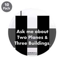 "Two Planes Three Buildings 3.5"" Button (10 pack)"