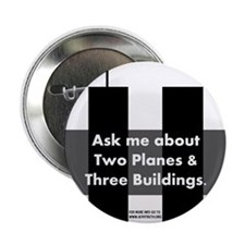 """Two Planes Three Buildings 2.25"""" Button"""