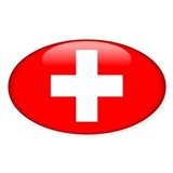Switzerland Oval Sticker (50 pk)