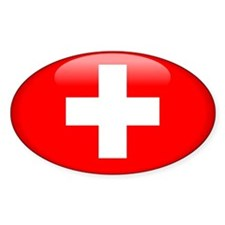 Switzerland Oval Sticker (10 pk)