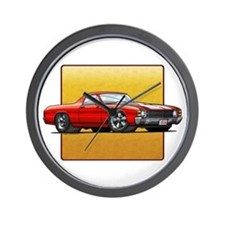 Red w/White Stripes El Camino Wall Clock