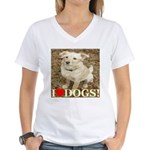 I Love Dogs Women's V-Neck T-Shirt