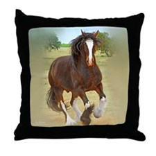 Galloping Shire Draft Horse Throw Pillow