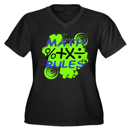 Math Rules! Women's Plus Size V-Neck Dark T-Shirt