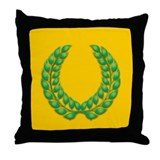Gold with Green Laurel Throw Pillow