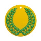 Gold with Green Laurel Ornament (Round)